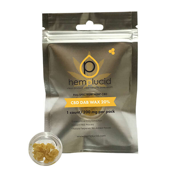 Hemplucid Whole-Plant™ CBD Dab Wax contains 200mg of ultra-refined CBD concentrate